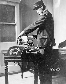 Telegraph operator printing telegram, 1908, courtesy Library of Congress